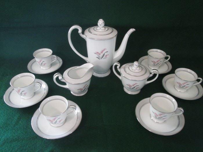"Vintage Noritake Demitasse Set, ""Pink Lily of the Valley"" Pattern, 17 Pieces"