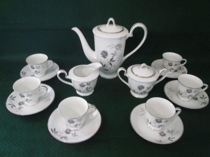 Vintage Noritake Coffee Set, Rosamor Pattern,               17 Pieces