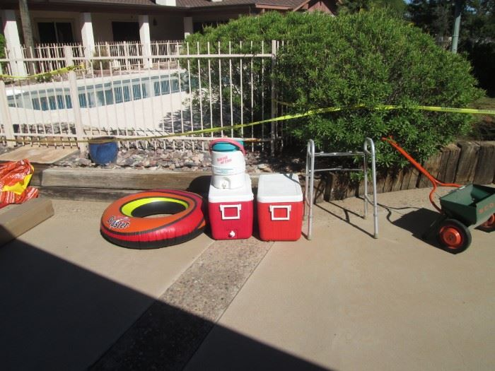 Ice Chests, Rolling Fertilizer, Pool Toys