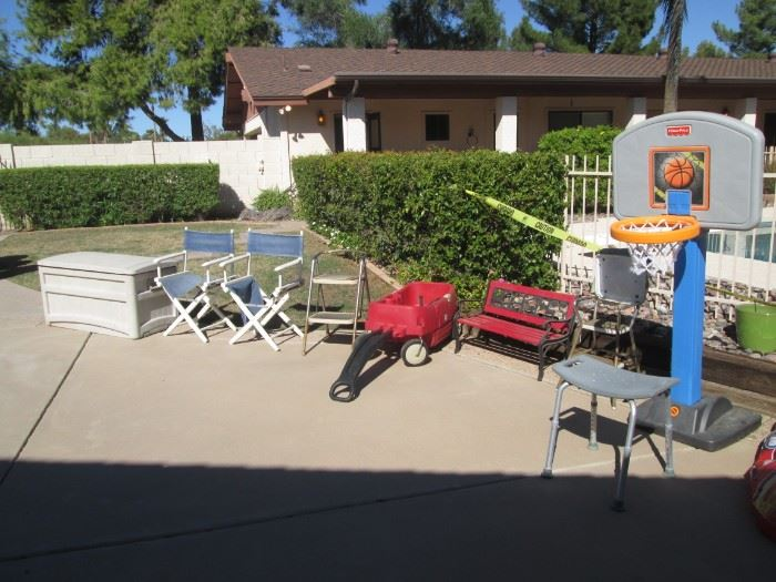 Storage Chest, 2-Director's Chairs, Red Garden Wagon, Kid's Park Bench and Basketball Hoop + Shower Chair