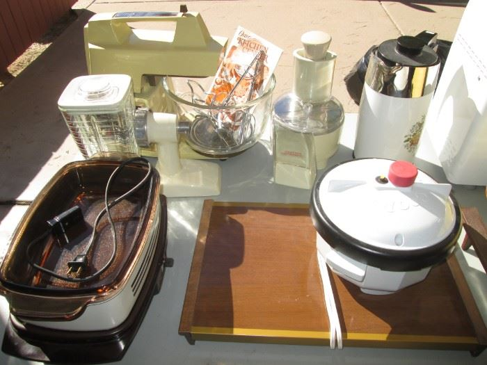 Small Appliances, including an Oster Mixer with Bowl and Accessories + back right, Corning Ware Coffee Pot
