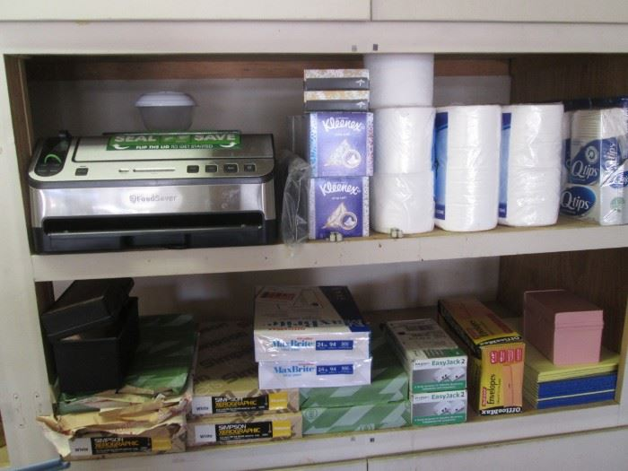 Household Supplies:  T-Paper, Kleenex, Reams of Paper  Plus a Food Sealing Machine