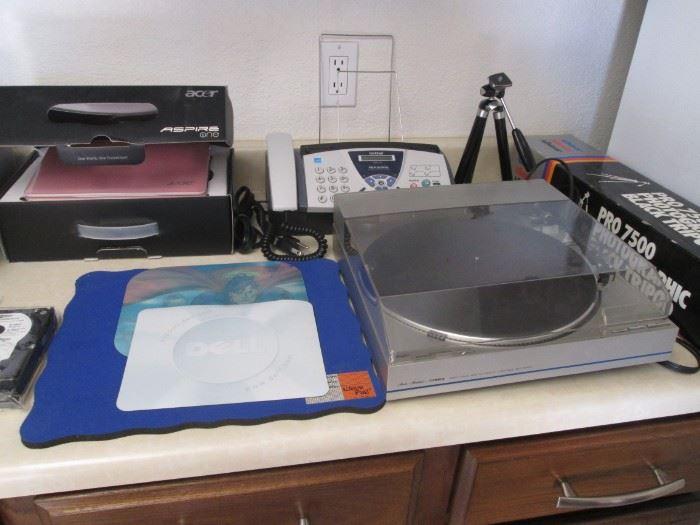 Back Left:  Acer Aspire 1 Laptop, NIB, Pink.                            Fisher Turntable.