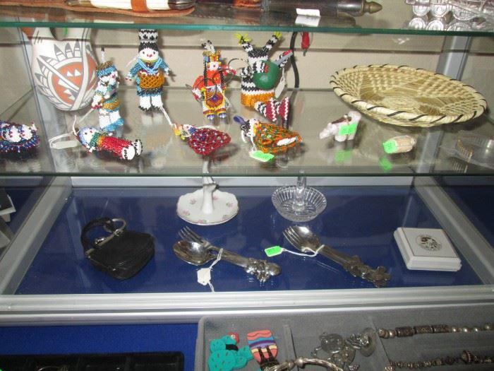 Zuni or Apache Beaded Figurines.  Jemez Wedding Vase