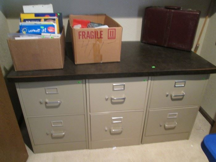 2- Drawer File Cabinets - can be purchased as a group with the top piece