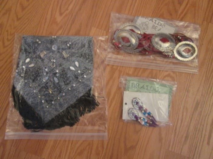 Beaded, decorated earrings, belts, bandanas and more