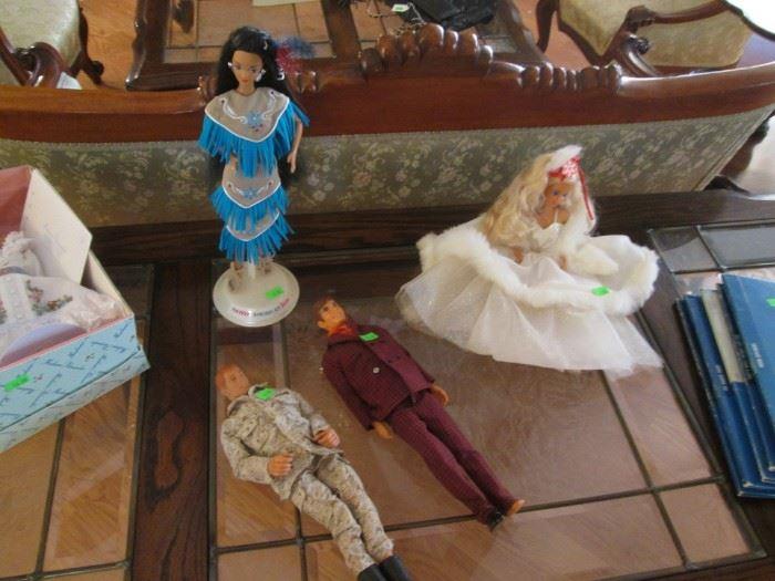 Native American  and Christmas Barbies
