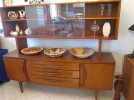 """Mid Century Modern Danish Credenza-Buffet with Floating Top Hutch and Bowed Bottom Piece By """"Beautility"""".  Teak 72 1/2"""" X 19"""""""