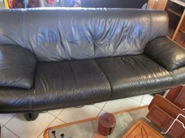 """80"""" Danish Modern Black Leather Sofa.  Interesting Detail and Styling"""