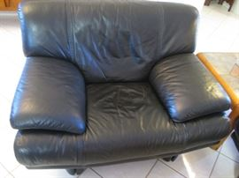 """50"""" Danish Modern Oversized Chair in Black Leather.  Matches Sofa in previous photo"""