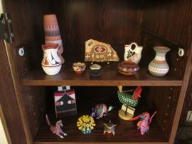 Nice Assortment of Folk Art Pieces, Pottery and Southwest Decor