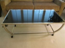 Chrome & Black Glass Coffee Table