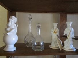 Decanters and Porcelain Angel Candlesticks & Sculpture