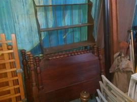 Beds with solid hard wood head and foot boards, Wood dispaly shelf,