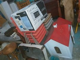 Stacking Chairs, Toaster Over in Box, Lawn Ornament