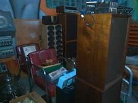 Speakers, Mid Century Chrome & Vynal Chairs