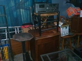 Tredle Sewing Machine, Tape Deck,  Glass and Metal Coffee or end Table,  Old Chair