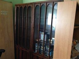 MCM glass door bookshelf