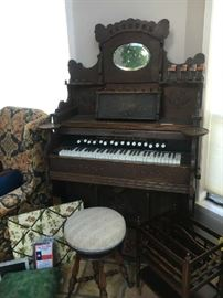 Antique organ, stool and music holder