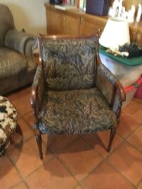 Pair arm chairs with cane in sides