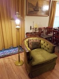 Tole Lamp, Green Velvet Chair in Great Condition