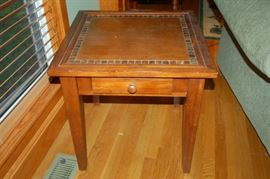 Inlaid side table (one of two)