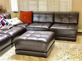 Beautiful leather sofa group with ottoman from Macys