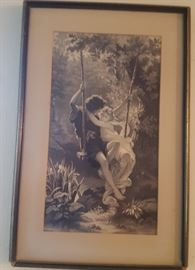 One of a pair of romantic vintage framed prints