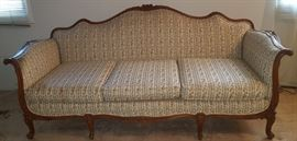 A Second Antique French Settee, Carved Wood Frame, Newer Upholstery