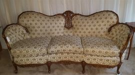 19th Century French Settee, Hand Carved Frame, newer upholstery - Great Condition - bring help to move it.