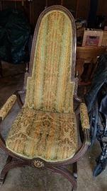 Vintage, unique high back chair.