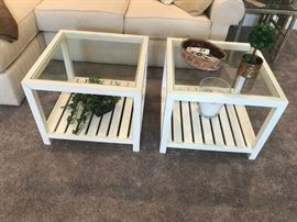 #3	(2)  White Wood Square Glass Top Tables  22x22x17  (2)   $75 each	 $150.00