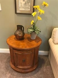 #4	Ethan Allen Oval End Table w/door   27x22x25 - as is	 $175.00