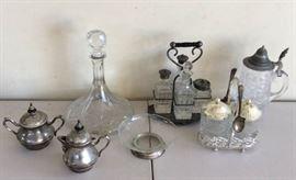 DDD006 Crystal Decanter, Vintage Etched Glass Condiment Sets & More