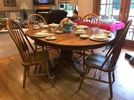 Solid Oak Table & (4) Chairs