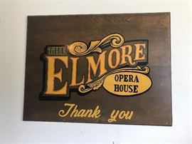 Elmore Opera House Wooden Sign~Elmore, Ohio