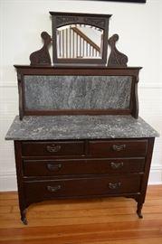 Vintage marble top  wash stand dresser.