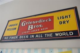 Griesedieck Brothers Beer tin sign in very good shape. Approximately 4 feet long.