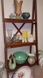 Much pottery, plates, figurines and glassware. Roseville, Hull, Jadite