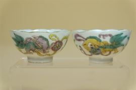 "Pair Chinese Porcelain Fmaille Rose ""Foo Lion"" Cups."