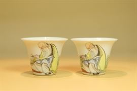 "Pair ""Eggshell Style"" Chinese Porcelain ""Shou"" Cups."