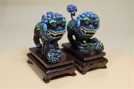 Pair of Chinese Silver Filigree Mesh Gilt & Enamel Foo Dog Lions.