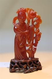 Chinese Carved Red Agate Lady Figurine.