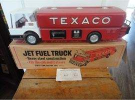 1970's Jet Fuel Truck with Original Box/Instructions+ Sign