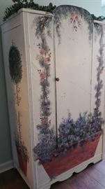 Beautiful Painted Wood Wardrobe It is 5 foot 6 In The Center and 40 Inches Wide