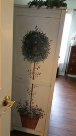 Painted Wood Wardrobe 65 Inches Tall In The Center