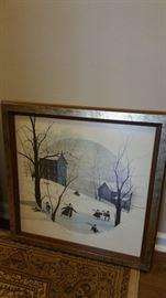 P. Buckley Moss Rare Print Frosty Frolic