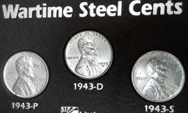 1 1943 P , D  S Steel Wartime Pennies, MS DETAIL