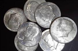 7 Kennedy Half Dollars, BU Detail