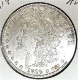 1879 Morgan Silver Dollar, AU Detail